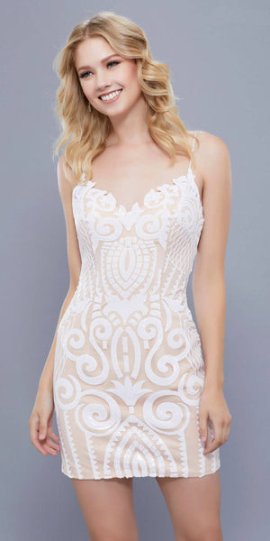 Ivory-Nude Sequin-Embellished Fitted Homecoming Short Dress