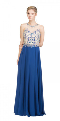 Starbox USA L6333 Royal Blue Halter Illusion Beaded Top A-Line Prom Gown