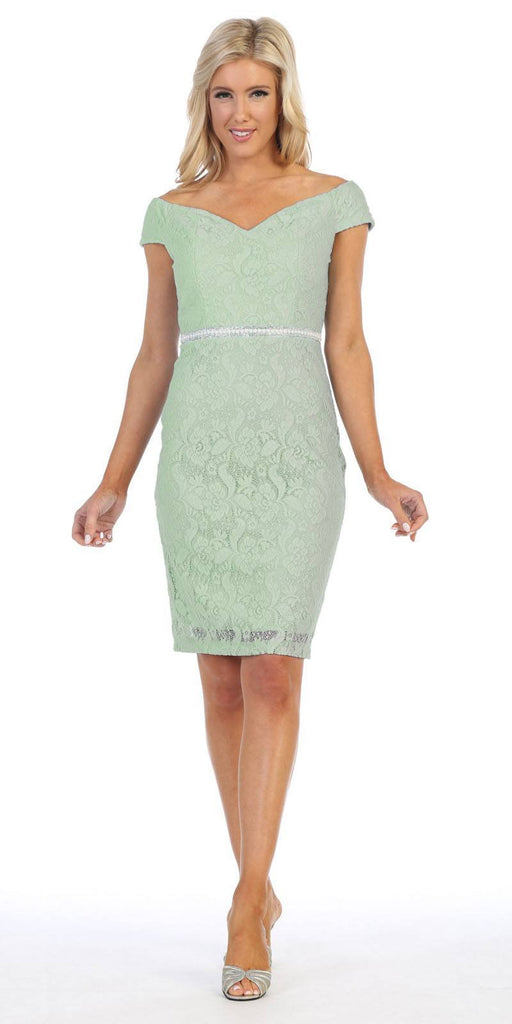 Celavie 6333S Sage Off-the-Shoulder Cocktail Dress Embellished Waist