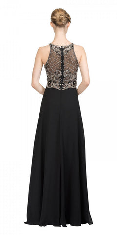 Black Illusion Beaded Bodice Long Prom Dress Sleeveless Back View