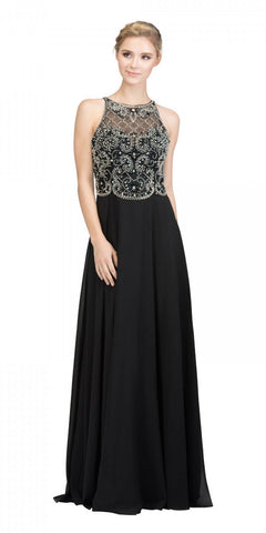 Black Illusion Beaded Bodice Long Prom Dress Sleeveless