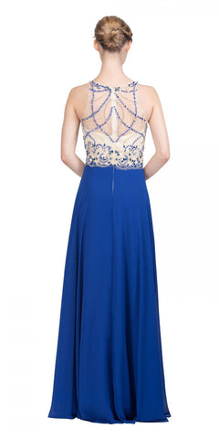 Illusion Sweetheart Neckline Beaded Long Prom Dress Royal Blue Back View