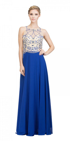 Illusion Sweetheart Neckline Beaded Long Prom Dress Royal Blue
