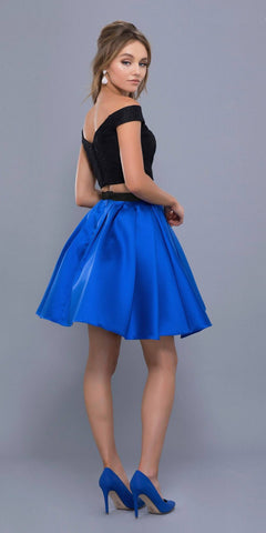 Royal-Black Off Shoulder Two-Piece Short Prom Dress Satin Skirt