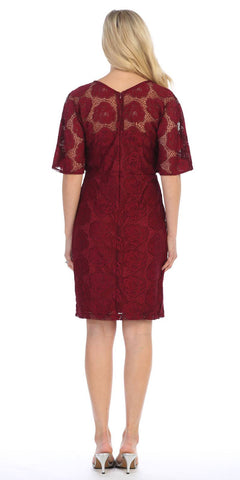 Burgundy Short Wedding Guest Dress with Flutter Sleeves