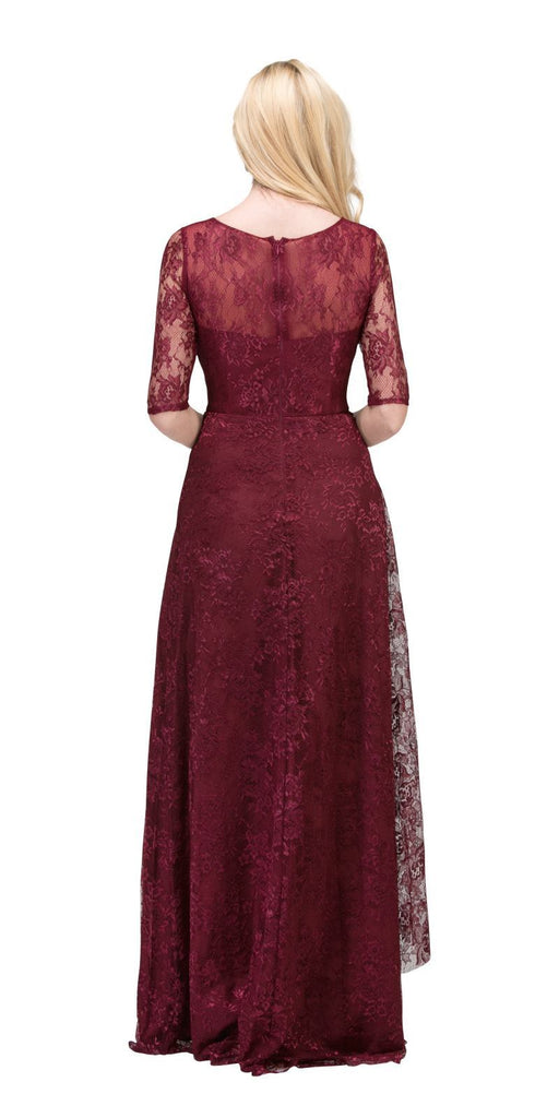 Starbox USA L6337 Burgundy Quarter Sleeves Long Formal Dress with Drape Back View