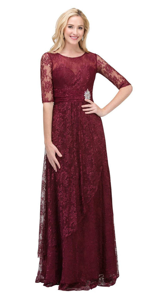 Starbox USA L6337 Burgundy Quarter Sleeves Long Formal Dress with Drape