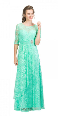 Starbox USA L6337 Mint Quarter Sleeves Long Formal Dress with Drape