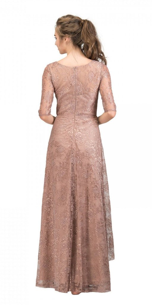 Starbox USA L6337 Mocha Quarter Sleeves Long Formal Dress with Drape Back View