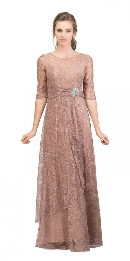 Starbox USA L6337 Mocha Quarter Sleeves Long Formal Dress with Drape