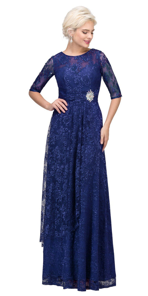 Starbox USA L6337 Navy Blue Quarter Sleeves Long Formal Dress with Drape