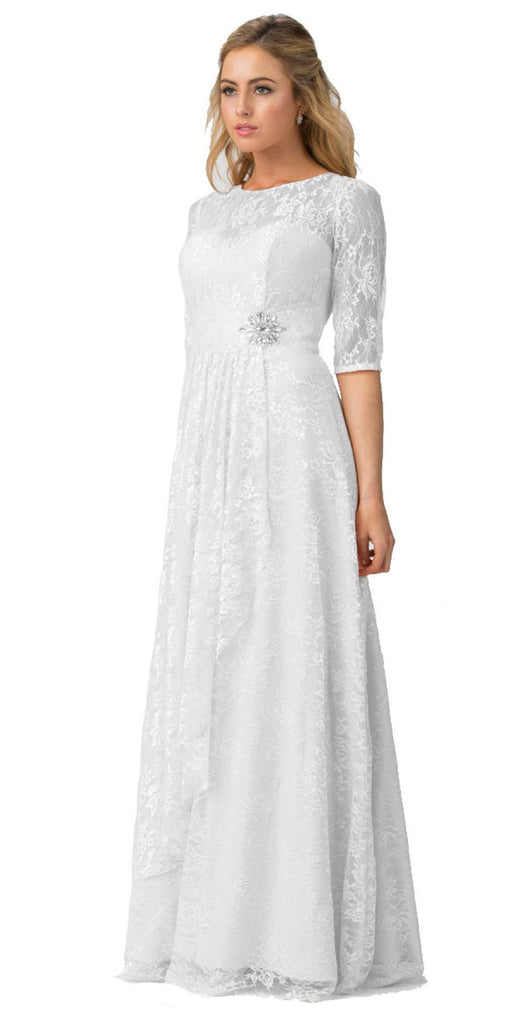 Starbox USA L6337 Off White Quarter Sleeves Long Formal Dress with Drape
