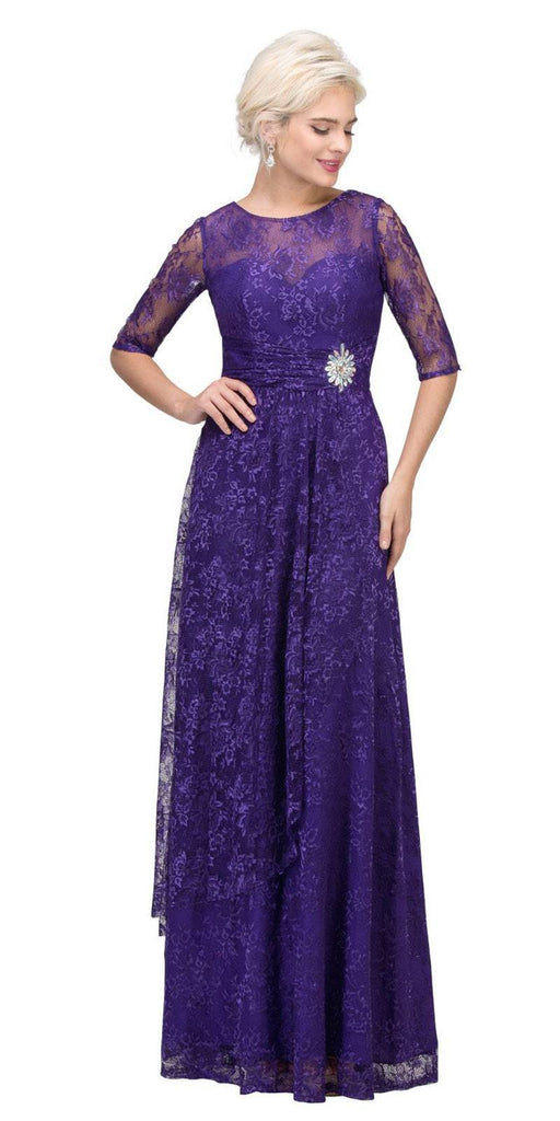 Starbox USA L6337 Purple Quarter Sleeves Long Formal Dress with Drape