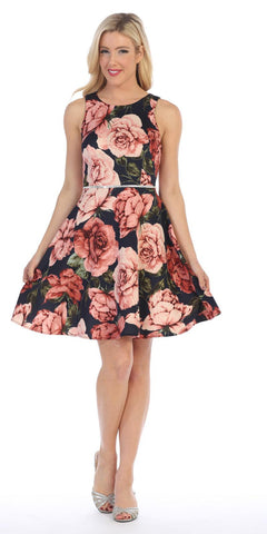 Almond/Black Floral Print Short Homecoming Dress