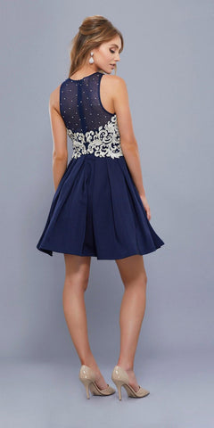 Navy Blue Illusion Appliqued Bodice Sleeveless Homecoming Short Dress