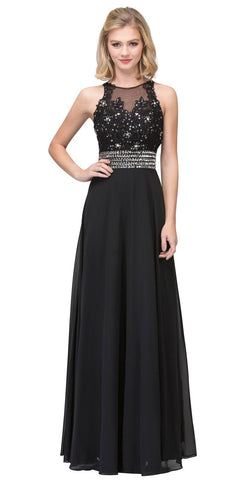 Starbox USA L6338 A-Line Formal Dress Appliqued Bodice Black