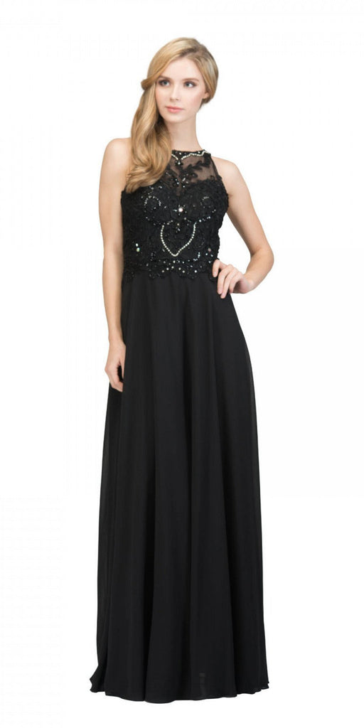 Black Sleeveless Long Formal Dress Beaded Applique Bodice
