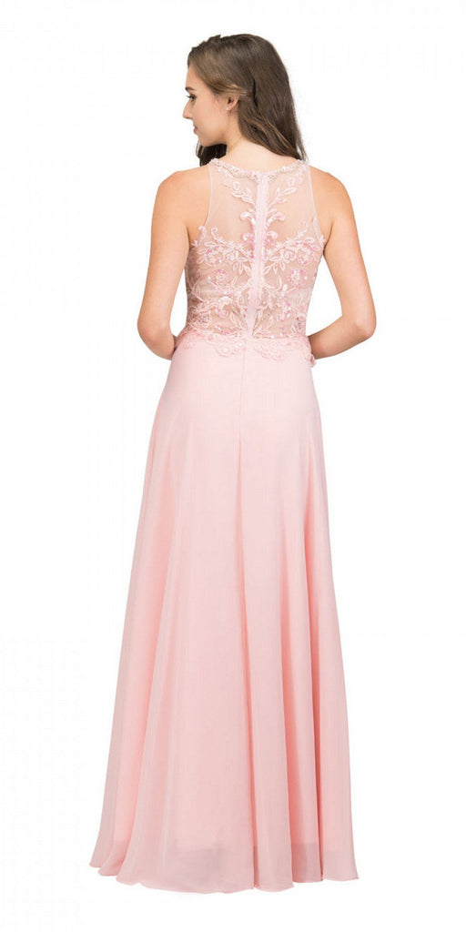Blush Sleeveless Long Formal Dress Beaded Applique Bodice Back View