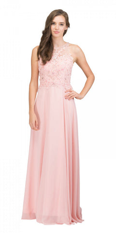 Blush Sleeveless Long Formal Dress Beaded Applique Bodice