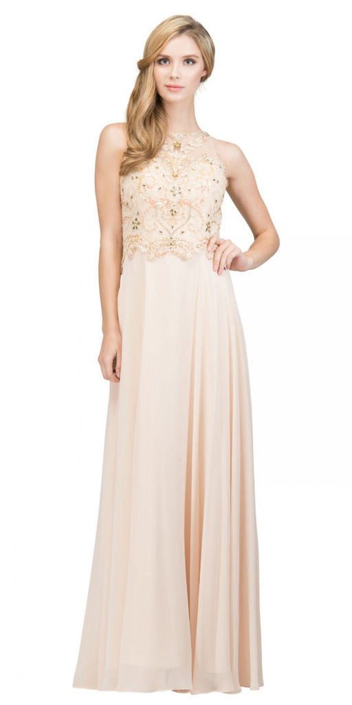 Champagne Sleeveless Long Formal Dress Beaded Applique Bodice
