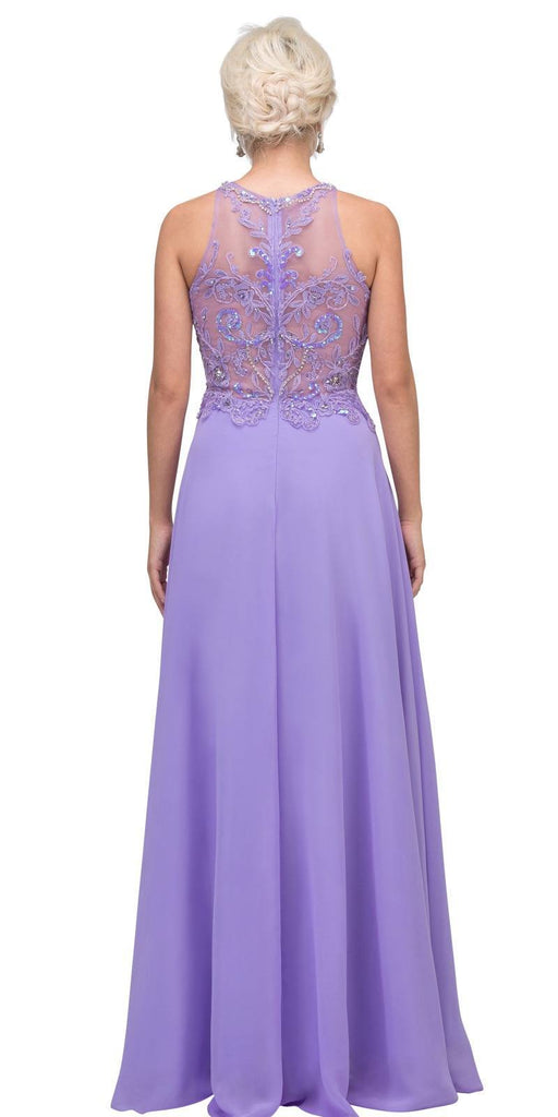 Lilac Sleeveless Long Formal Dress Beaded Applique Bodice