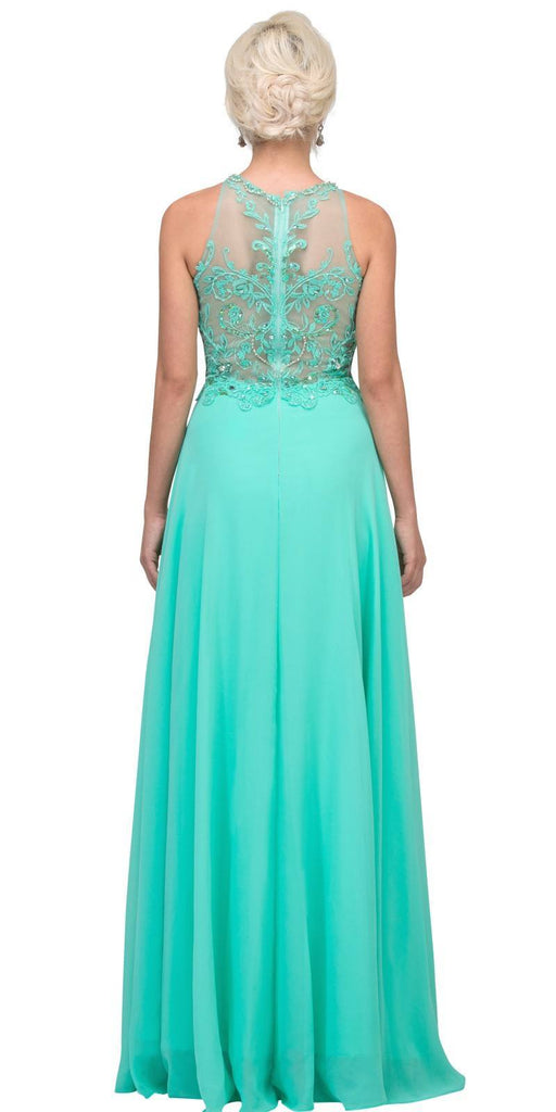 Mint Sleeveless Long Formal Dress Beaded Applique Bodice Back View