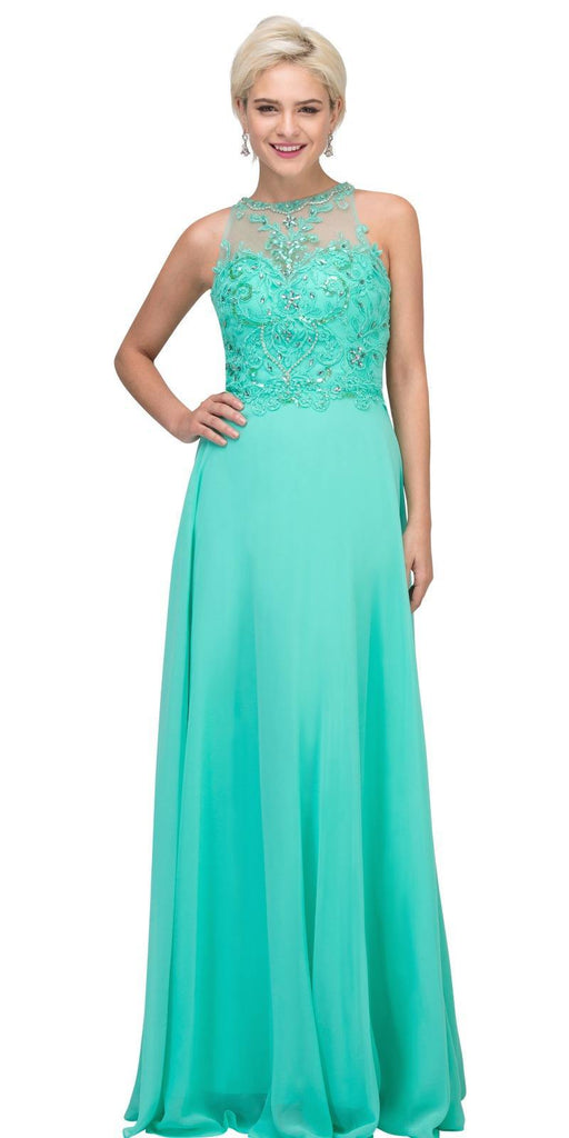 Mint Sleeveless Long Formal Dress Beaded Applique Bodice