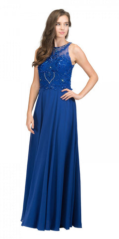 Royal Blue Sleeveless Long Formal Dress Beaded Applique Bodice