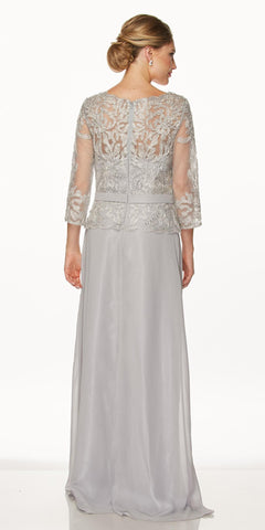 Juliet 634 Quarter Sleeve Formal Dress with Lace Applique Bodice Silver
