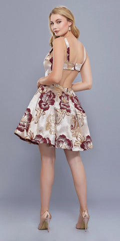 Cut Out Back Floral Print Homecoming Short Dress Sleeveless