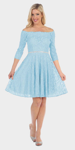 Celavie 6343 Off-the-Shoulder Short Lace Homecoming Dress Baby Blue