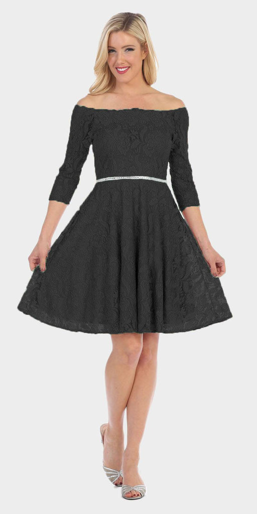 Celavie 6343 Off-the-Shoulder Short Lace Homecoming Dress Black