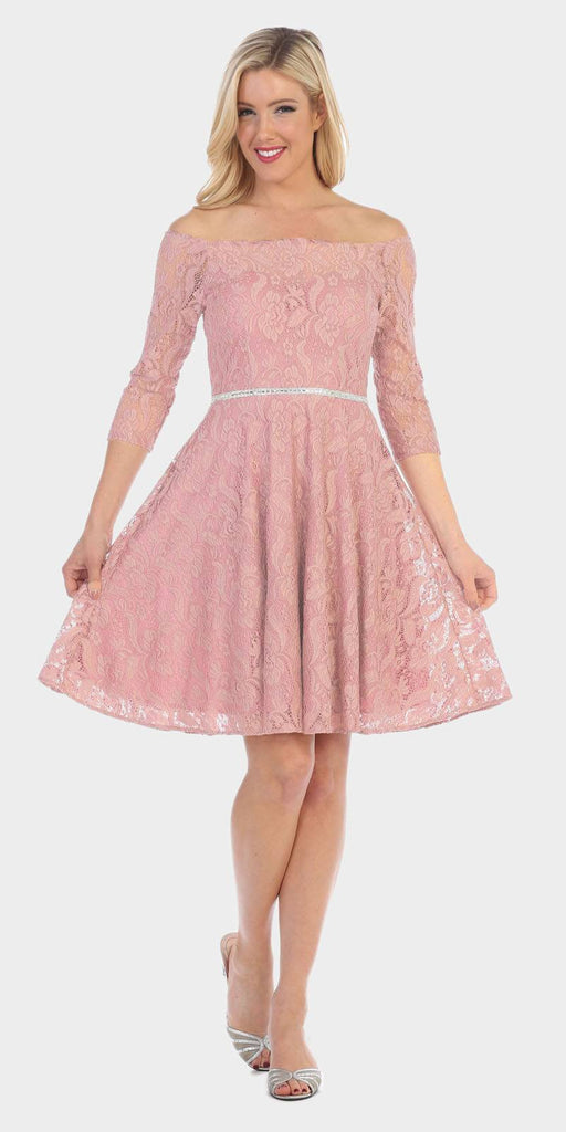 Celavie 6343 Off-the-Shoulder Short Lace Homecoming Dress Blush