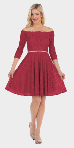 Celavie 6343 Off-the-Shoulder Short Lace Homecoming Dress Burgundy