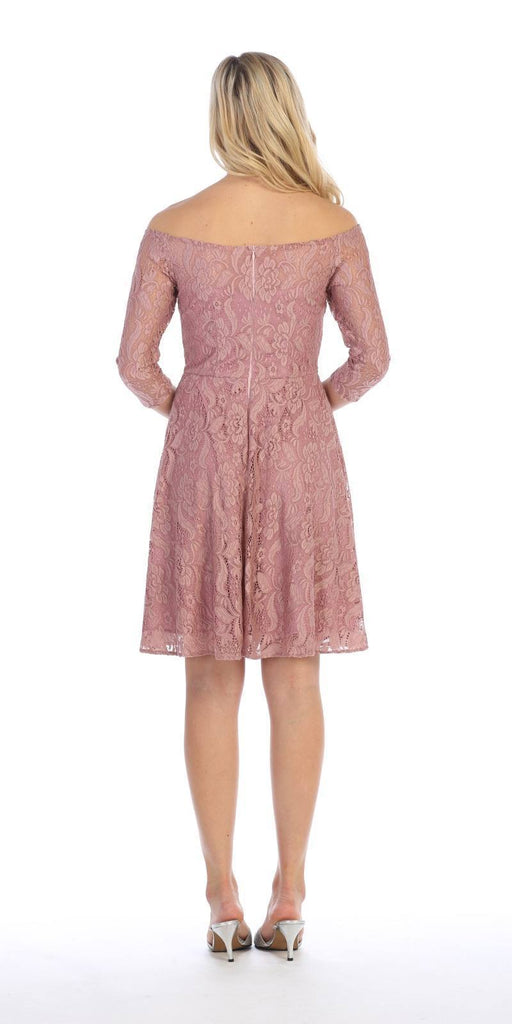Celavie 6343 Off-the-Shoulder Short Lace Homecoming Dress Mauve