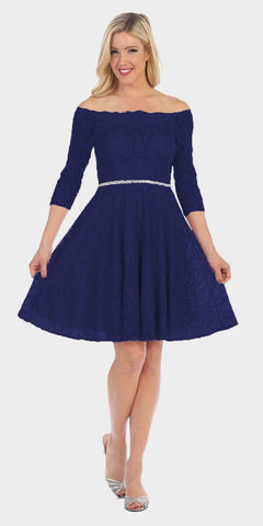 Celavie 6343 Off-the-Shoulder Short Lace Homecoming Dress Navy Blue