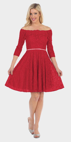 Celavie 6343 Off-the-Shoulder Short Lace Homecoming Dress Red