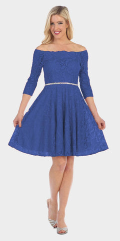 a1482def2f3 Celavie 6343 Off-the-Shoulder Short Lace Homecoming Dress Royal Blue