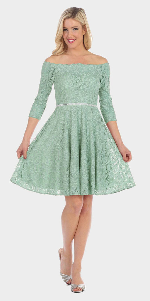 Celavie 6343 Off-the-Shoulder Short Lace Homecoming Dress Sage