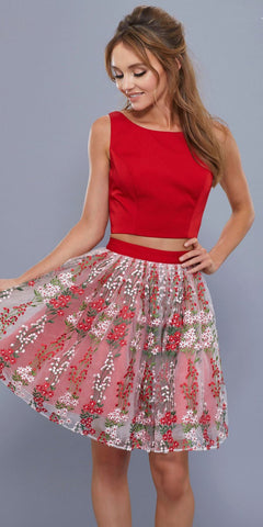 Red Embroidered Skirt Two-Piece Homecoming Dress Cut Out Back