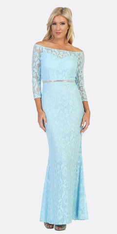 Celavie 6343L Off-Shoulder Long Sleeved Lace Formal Dress Baby Blue