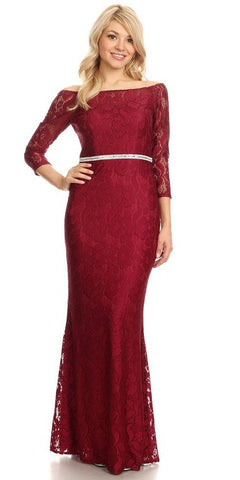 Celavie 6343L Off-Shoulder Long Sleeved Lace Formal Dress Burgundy