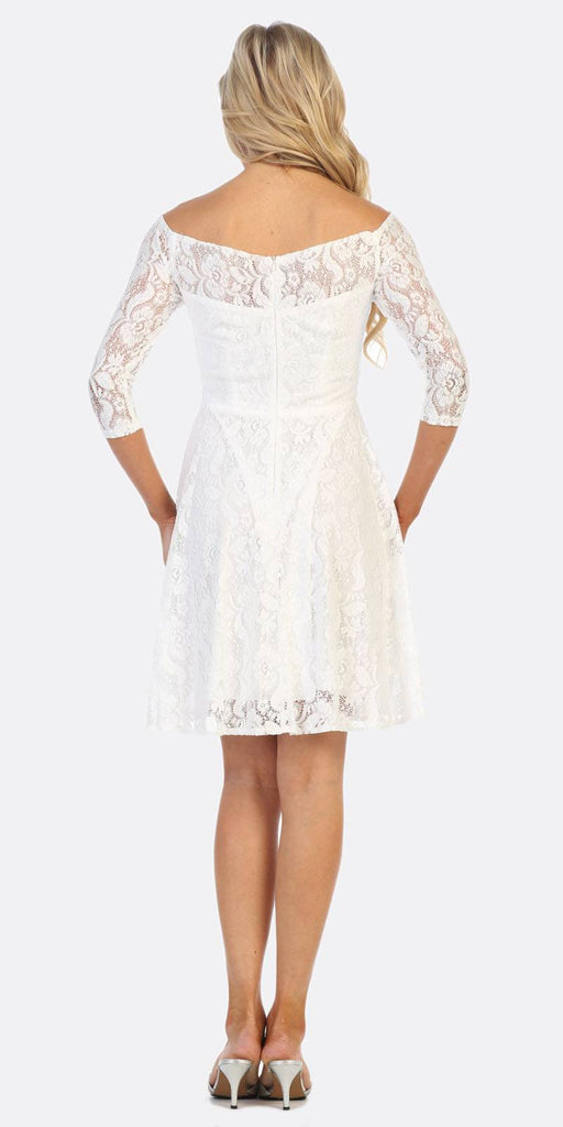 Celavie 6343 Off-the-Shoulder Short Lace Homecoming Dress Off White