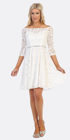 Off-Shoulder Long Sleeved Lace Formal Dress Off White