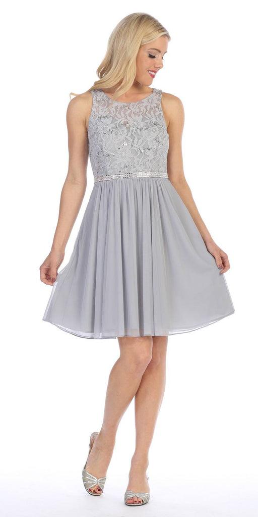 Silver Sleeveless Short Party Lace Dress A-line