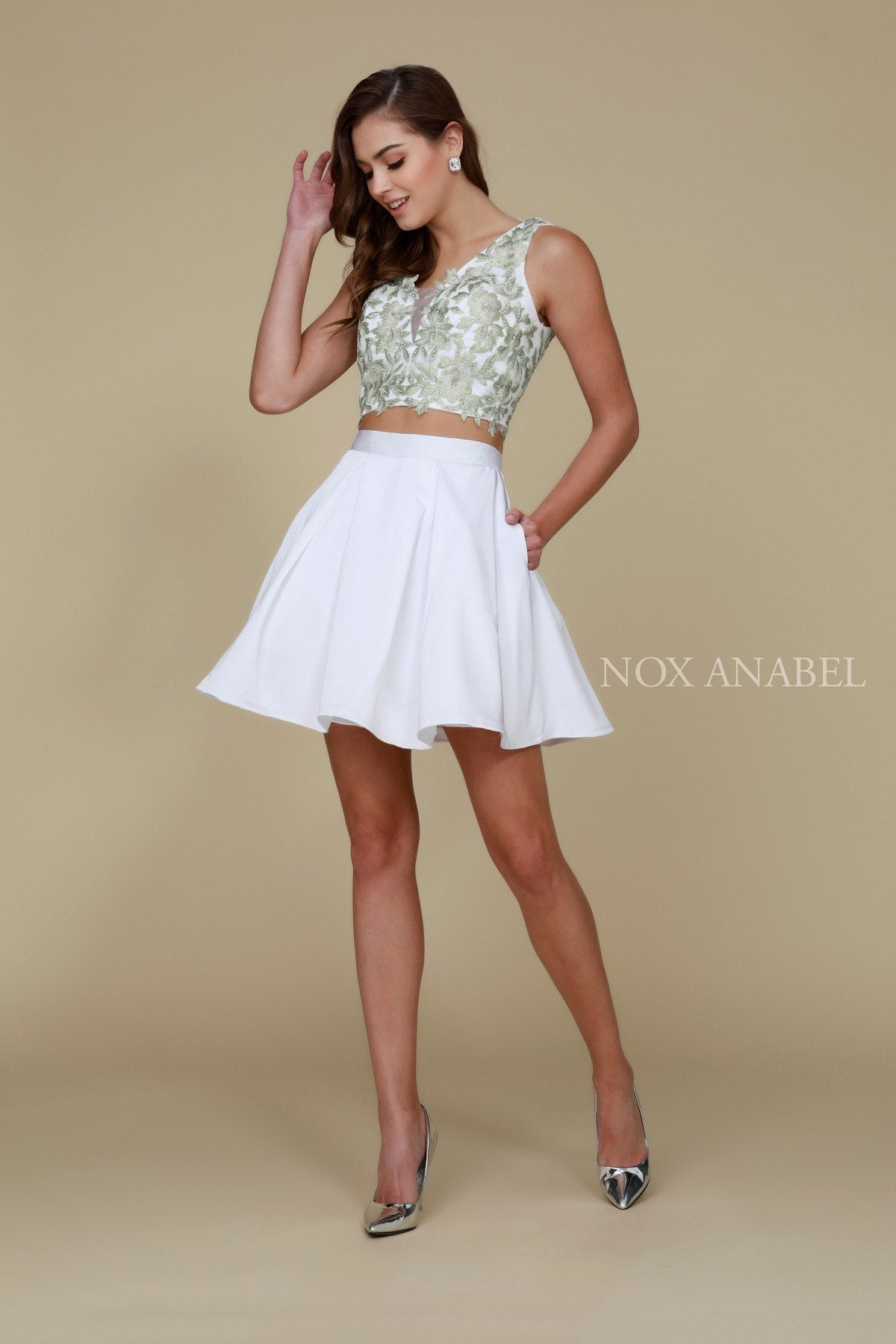 White-Peach V-Neck Two-Piece Homecoming Dress Appliqued Crop Top ... be44f641e