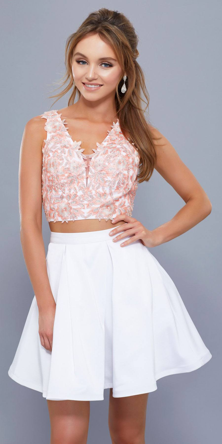 meet how to get enjoy discount price White-Peach V-Neck Two-Piece Homecoming Dress Appliqued Crop Top