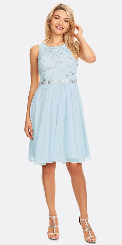 Celavie 6344 Baby Blue Sleeveless Short Party Lace Dress A-line