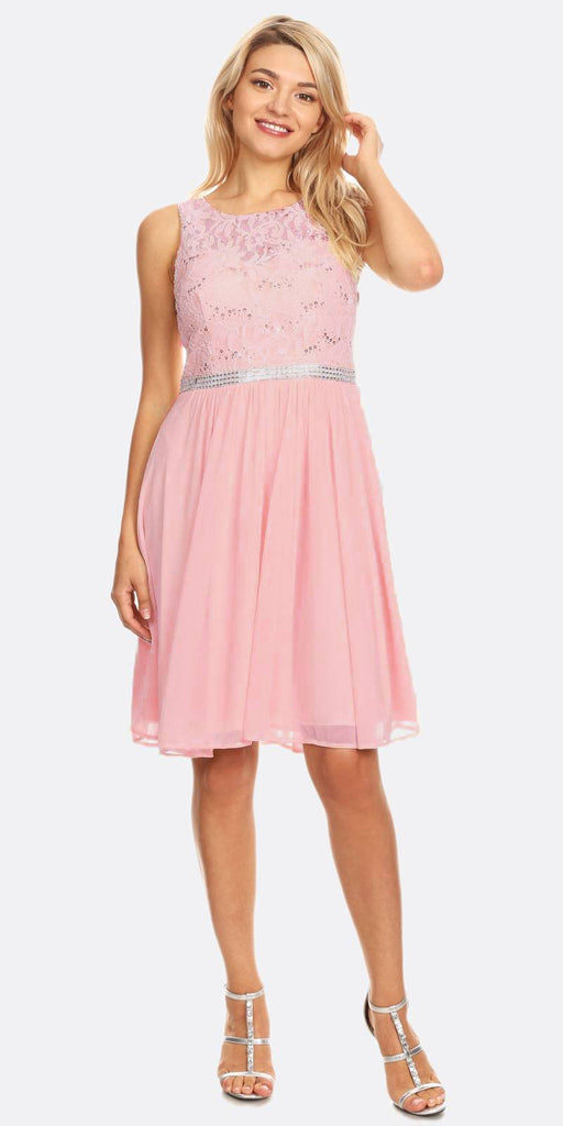 Celavie 6344 Blush Sleeveless Short Party Lace Dress A-line