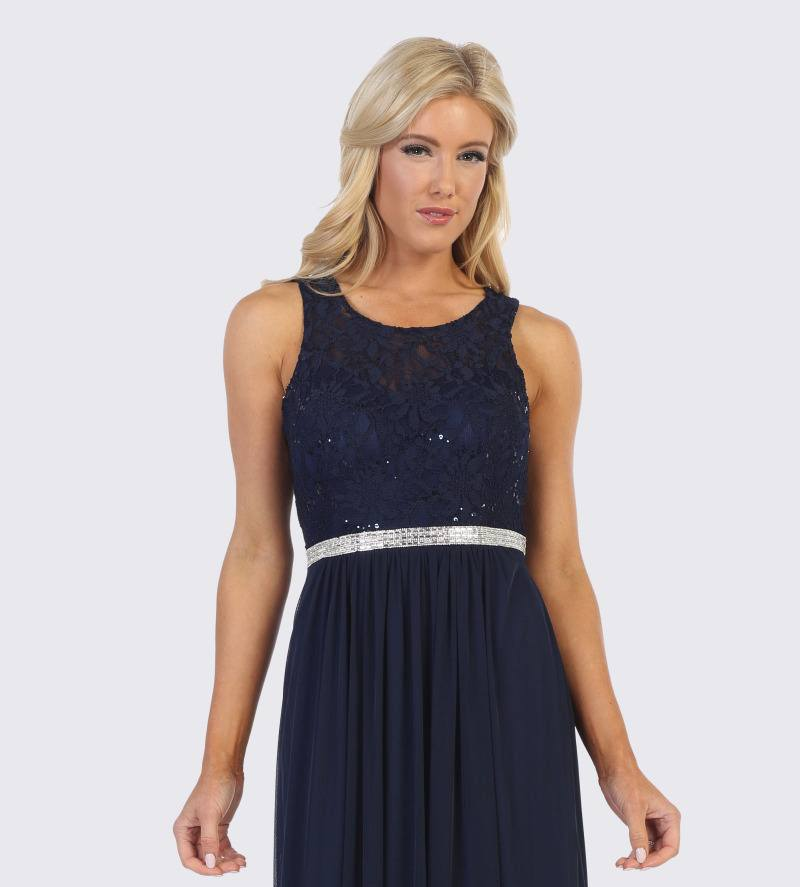 Celavie 6344 Navy Blue Sleeveless Short Party Lace Dress A-line